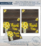Sunflower Thank You Card, Editable Rustic Sunflower Party Printable, Birthday Thank you, Folded Card Blank Inside