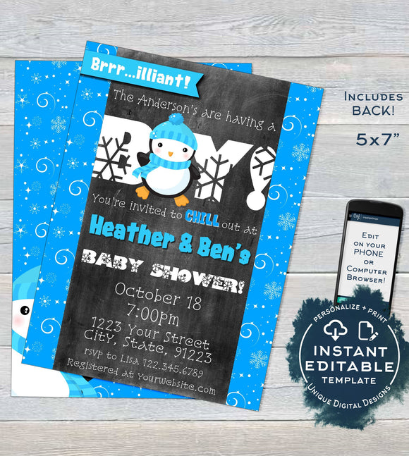 Penguin Baby Shower Invitation, Baby Boy Waddle Baby Be Baby Shower Invite, Editable Winter Baby Shower Chill Printable INSTANT DOWNLOAD 5x7