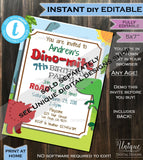 Dinosaur Birthday Invitation, Editable Stomp Chomp and Roar T-Rex Dinosaur Bite Invite Boy ANY Age Party Printable
