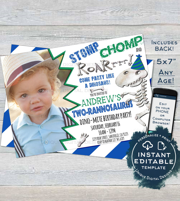 Dinosaur Birthday Invitation, Editable Stomp Chomp and Roar Bite Dinosaur Photo Invite Boy ANY Age Party Printable