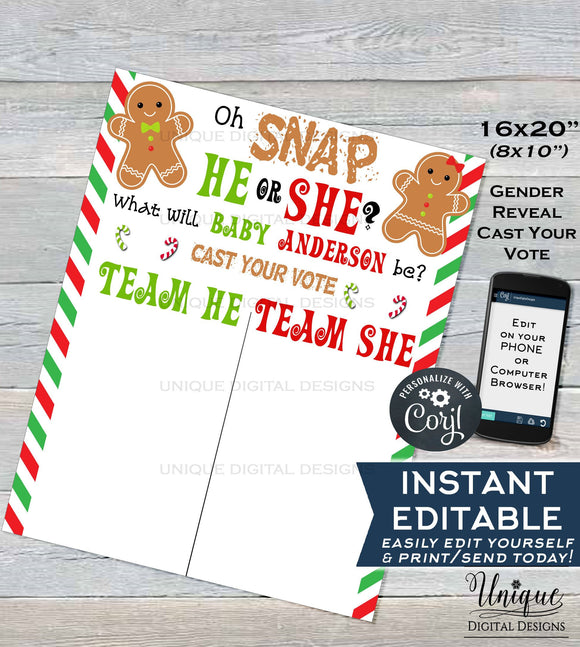 Christmas Gender Reveal Sign, Editable Gingerbread Theme Board, Oh Snap He or She What will Baby be?, Cast your Vote Sign,