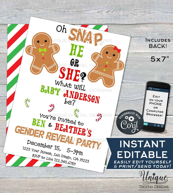 Christmas Gender Reveal Invitation, Editable Christmas Gingerbread Party Invite, Winter Baby Reveal Holiday Printable