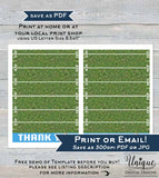 Football Thank You Cards, Editable Touchdown Thank you, Birthday Football Printable, Folded Card Blank Inside   A1