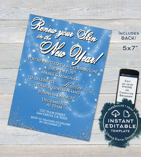 Rodan and Invitation, Editable Business Launch Party BBL Invite, R F Renew your Skin New Years Cocktails Mimosas Printable INSTANT DOWNLOAD