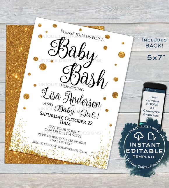Baby Bash Shower Invitation, Editable Baby Sprinkle Invite, Baby Gold Glitter Champagne, Custom Printable Template INSTANT DOWNLOAD 5x7