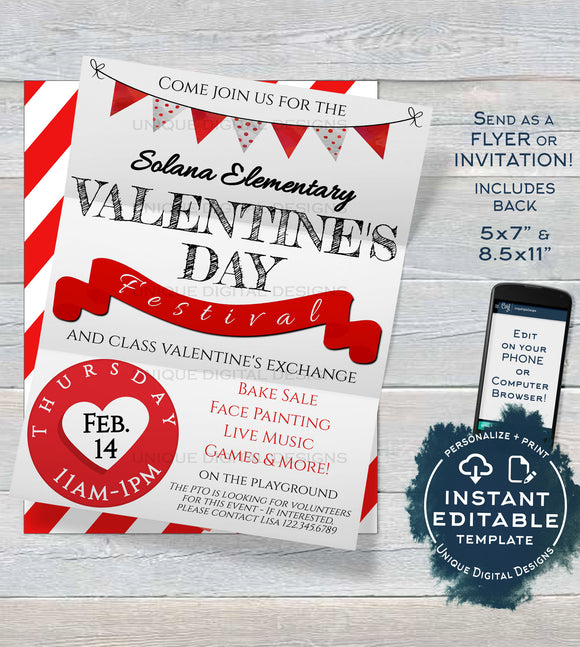 Valentine's Day Festival Flyer, Editable Class Party Invitation, Printable School Event Flyer, Community Church INSTANT DOWNLOAD 5x7 8.5x11