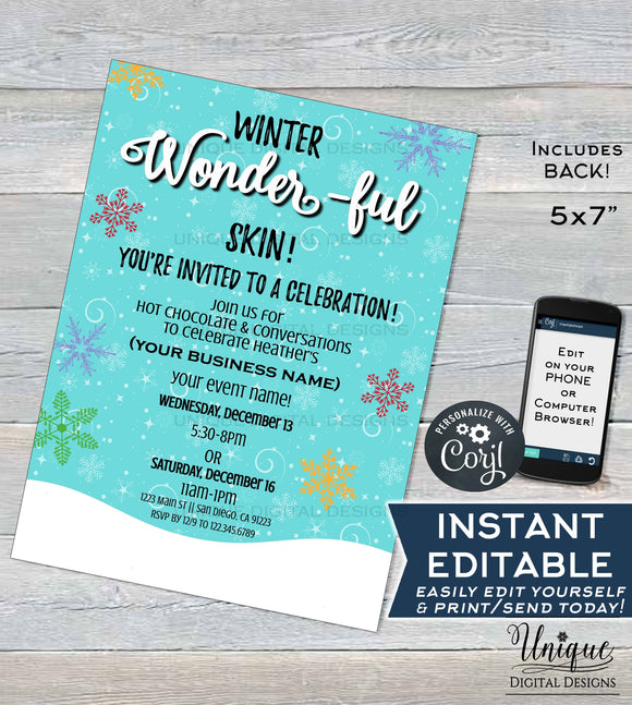 Rodan Invitation Business Launch Party BBL, Editable R F Cocktails & Conversation, Winter Wonderful Skincare Printable