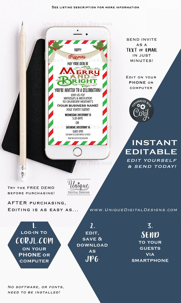 Merry Kissmas Invitation, Editable Rodan Business Launch Party BBL Invite, R F Kissmas Winter Skincare, Electronic Digital