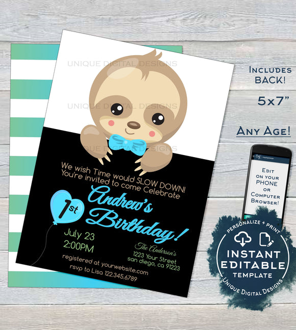Sloth Birthday Invitation, Editable Boys Sloth Birthday Party Invite, Slow Down Baby Sloth, ANY Age, Printable Template INSTANT DOWNLOAD 5x7