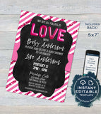 Valentines Day Baby Shower Invitation, Editable Love Baby Sprinkle, Pink White Glitter Chalkboard  Custom Printable