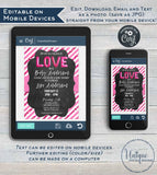 Valentines Day Baby Shower Invitation, Editable Love Baby Sprinkle, Pink White Glitter Chalkboard Template Custom Printable INSTANT DOWNLOAD