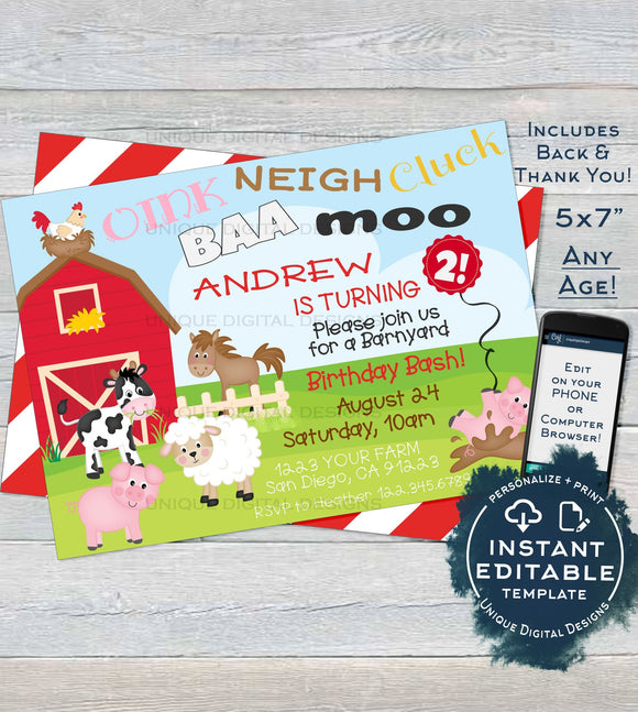 Farm Birthday Invitation,  Editable Barnyard Birthday Bash Farm Animals Invite Petting Zoo Party Digital Printable