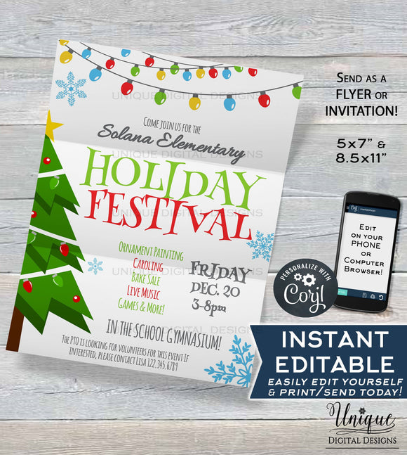 Holiday Festival Flyer, Editable Christmas Festival Invitation, Printable PTA Christmas Invitation, Community Church School INSTANT DOWNLOAD