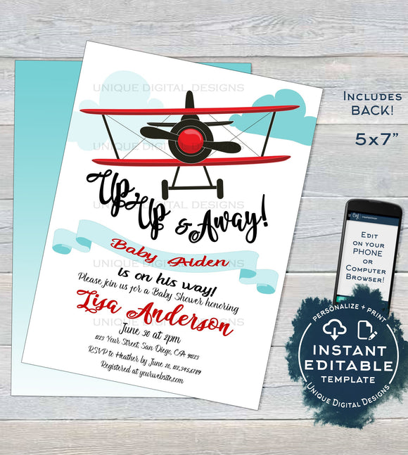 Airplane Baby Shower Invitation Template, Editable Airplane Boy Baby Shower Invite It's a Boy Up Up & Away Printable Custom INSTANT DOWNLOAD