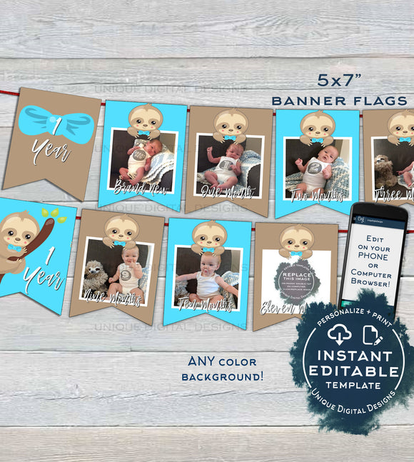 Sloth Banner Template, Boy Sloth First Year Photo Banner Flags, Boys Editable Sloth 1st Birthday Decor, Printable Template INSTANT ACCESS