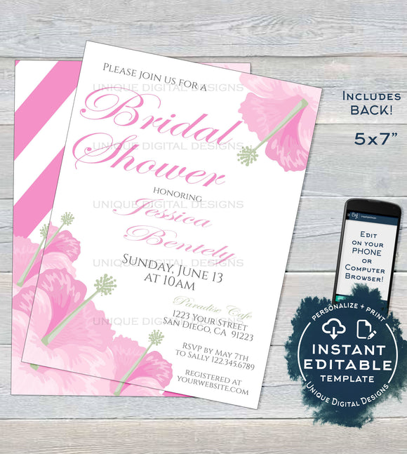 Pink Hibiscus Bridal Shower Invitation, Editable Pink Wedding Invite, Hawaiian Bachelorette Bride, Floral Custom Printable INSTANT DOWNLOAD