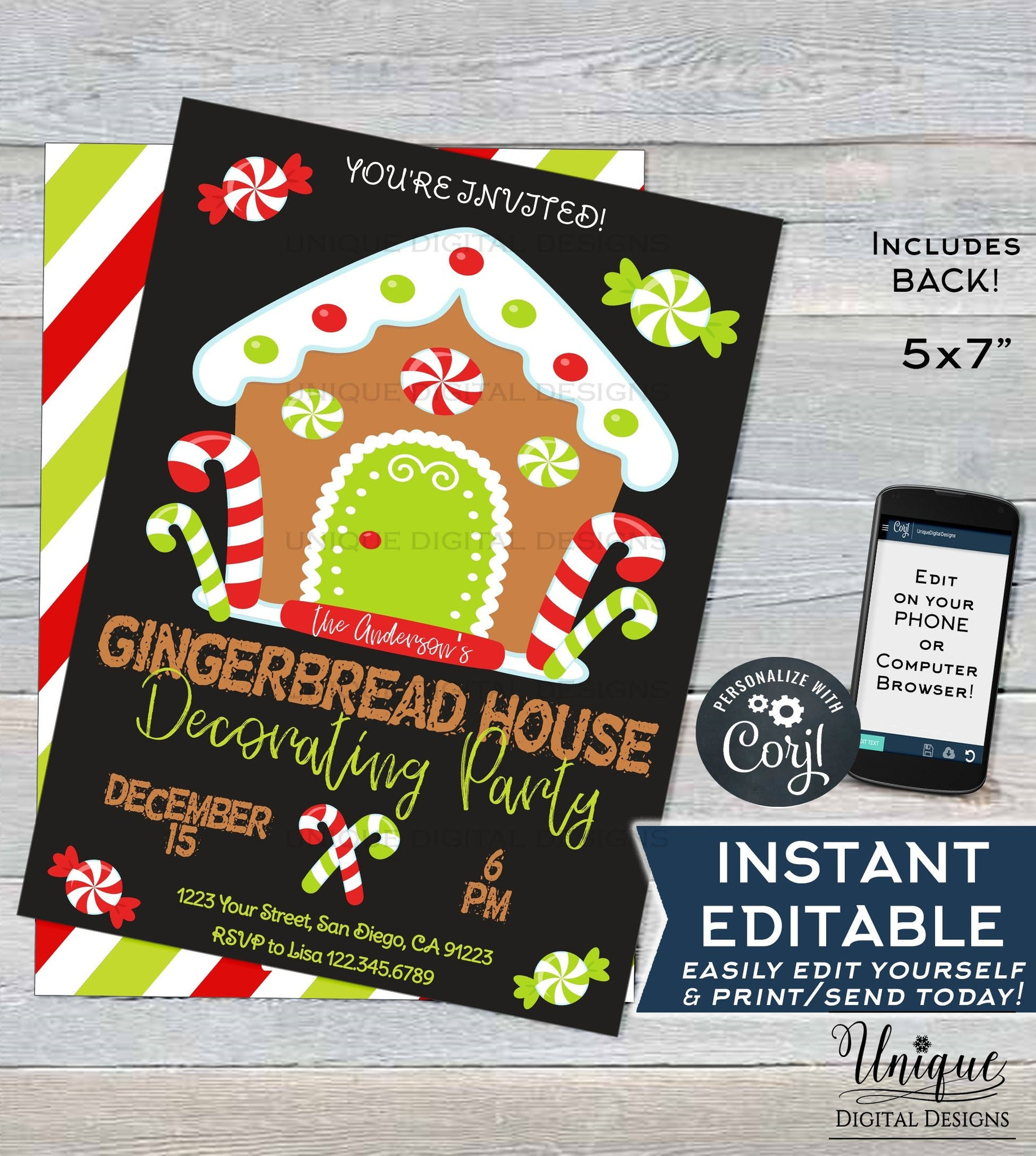 Editable Christmas Gingerbread House Decorating Party