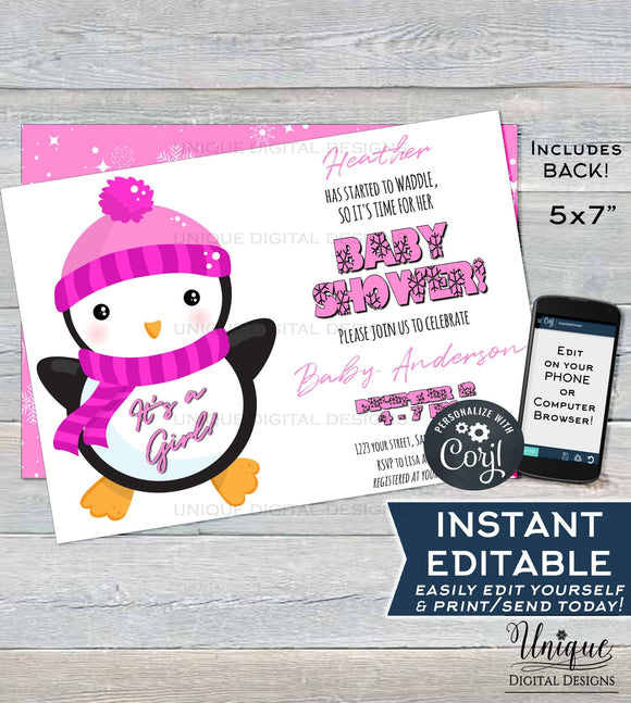 Editable Penguin Baby Shower Invitation, Winter Baby Shower Invite, It's a Girl Baby Shower, Waddle Custom Pink Printable INSTANT DOWNLOAD