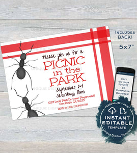 Park Birthday Party Invitation, Editable Picnic Party in the Park, Ant BBQ Party Invite, Playground Printable Template INSTANT DOWNLOAD 5x7
