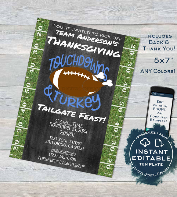 Touchdowns and Tailgates Invitation, Thanksgiving Touchdowns & Turkey, Editable Tailgate Invitations Printable Template INSTANT DOWNLOAD 5x7