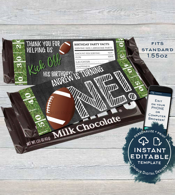 Football 1st Birthday Chocolate Bar Label, First Birthday Candy Bar Wrap, Editable Football Party Printable decorate INSTANT DOWNLOAD 1.55oz