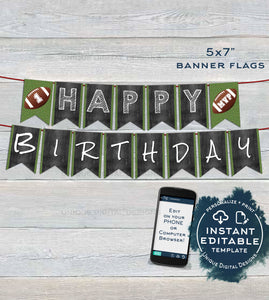 Football Banner Template Printable, Editable Football Pennant Flags Football Decoration Birthday Sign Digital Template INSTANT ACCESS UBFT