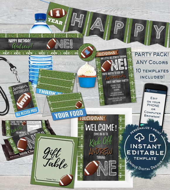 Football Birthday Decorations KIT, Invitation Food Label Editable First Birthday Football Party Pack, One Birthday