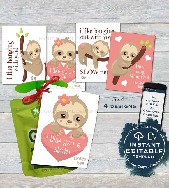 Sloth Applesauce Valentine Label Pouch Tag, Editable Valentine's Gifts for School Teacher, Personalized Printable Custom INSTANT DOWNLOAD