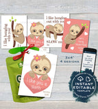 Sloth Applesauce Valentine Label Pouch Tag, Editable Valentine's Gifts for School Teacher, Personalized Printable Custom