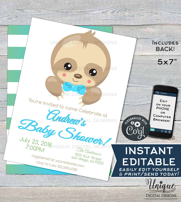 Editable Sloth Baby Shower Invitation, Boys Sloth Baby Shower Invite, Slow Down Baby Sloth, Custom Printable Template INSTANT DOWNLOAD 5x7