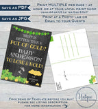Editable St Patricks Day Baby Announcement Postcard and Sign, Pot of Gold Lucky Charm Baby Invite, Personalized Printable