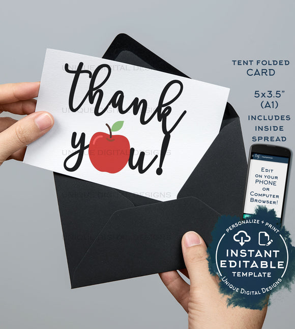 Teachers Thank You Card, Editable Apple Printable, Classroom Birthday Thank you Folded Card Includes Inside Spread