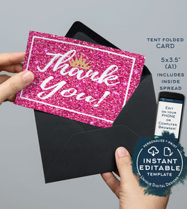 Princess Thank You Card, Editable Pink Glitter Printable, Princess Birthday Thank you Folded Card, Includes Inside Spread INSTANT DOWNLOAD
