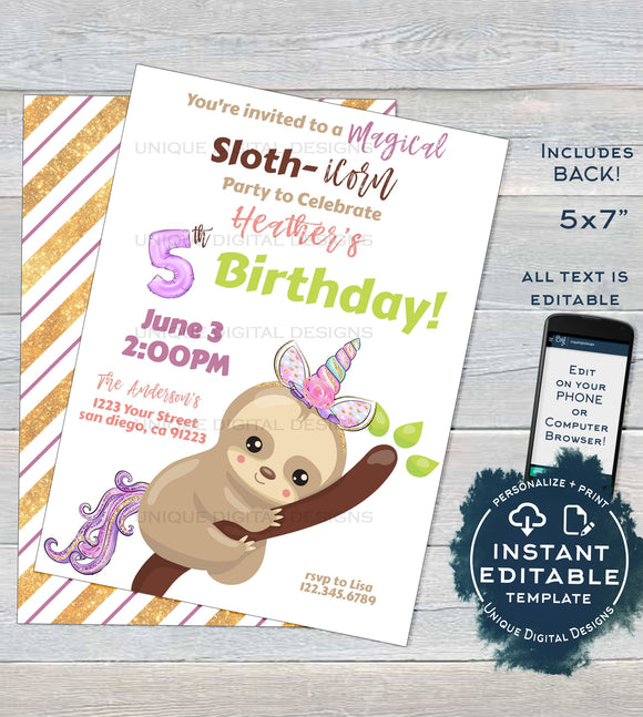 Slothicorn Invitation Unicorn Birthday Party, Gold Glitter Editable Sloth Birthday Magical Sloth-icorn, ANY Age, Printable INSTANT DOWNLOAD