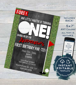Golf First Birthday Party Invitation , Editable Hole in One Par-tee Invite Kids Birthday Partee  Printable Custom