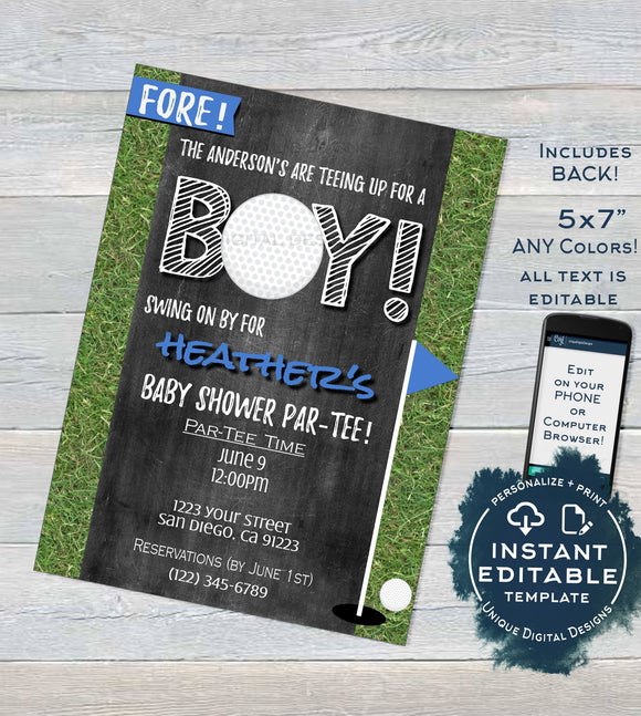 Golf Baby Shower Invitation, Editable Hole in One Par-tee Invite Golf Boys Baby Shower Partee  Printable Custom