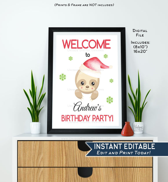 Sloth Birthday Welcome Sign, Editable Christmas Sloth Birthday Party, Photo Prop, Merry Slothmas Digital Printable INSTANT DOWNLOAD 16x20
