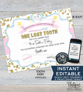 Editable Tooth Fairy Letter, Lost Tooth Certificate, Custom Tooth Fairy Receipt Clean Teeth Certified Personalize Printable