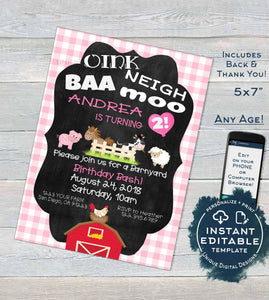 Farm Animal Birthday Invitation, Editable Girl Petting Zoo Birthday Party Invite, Pink Barnyard Birthday Printable Template INSTANT DOWNLOAD