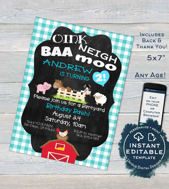 Farm Animal Birthday Invitation, Editable Boys Petting Zoo Birthday Party Invite, Blue Barnyard Birthday Printable Template INSTANT DOWNLOAD