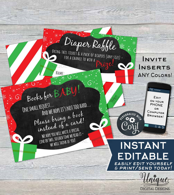 Christmas Diaper Raffle Ticket, Present Books for Baby Shower Invitation Inserts, Editable Winter Baby Shower Gift Card INSTANT ACCESS