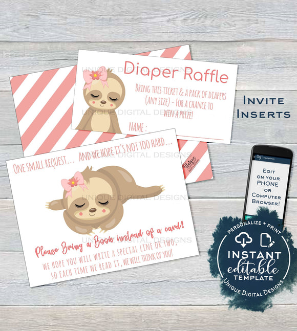 Sloth Baby Shower Diaper Raffle Ticket, Books for Baby Shower Invitation Inserts Editable Sloth theme Baby Shower Girl Card