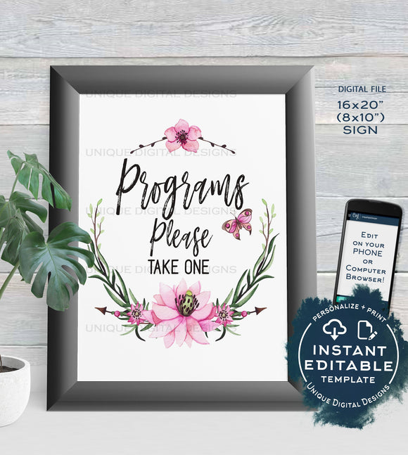 Program Baby Shower Sign Wedding Programs Sign Please Take One Floral Poster Watercolor Decor Printable