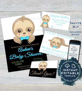 photograph relating to Printable Invitation Kit known as Sloth Child Shower Invitation Package, Editable Boys Sloth Boy or girl