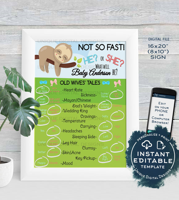 Gender Reveal Old Wives Tales Sign, Editable Sloth Baby Board He or She Pregnancy What will Baby, Custom Printable