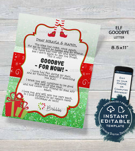 Editable Elf Letter, Elf Goodbye Letter, Custom Santa Letter, North Pole Shelf Prop, Christmas Elf Letter Printable, INSTANT DOWNLOAD 8.5x11