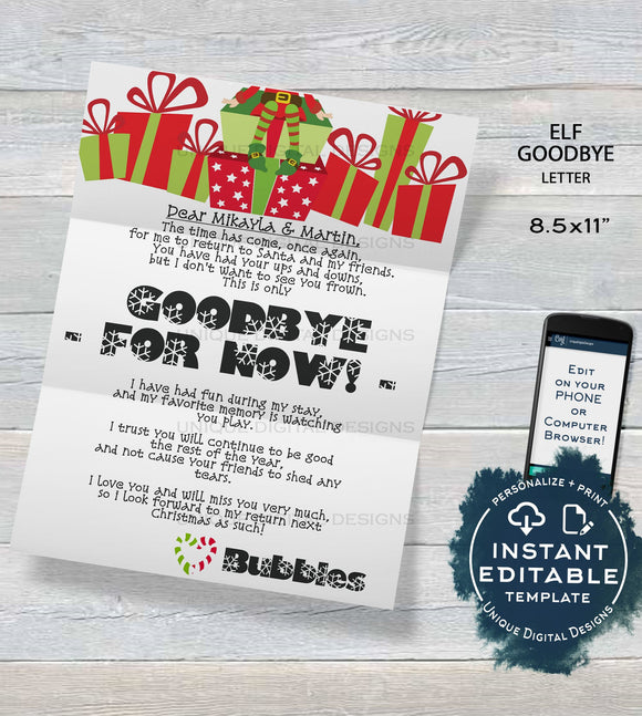 Elf Goodbye Letter, Editable Elf Letter , Custom Santa Letter, Shelf Prop, Christmas Elf Letter Printable,