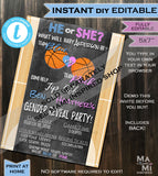 Basketball Gender Reveal Party, Old Wives Tales Sign, Basketball Sign Chalkboard Personalize Custom Digital Printable
