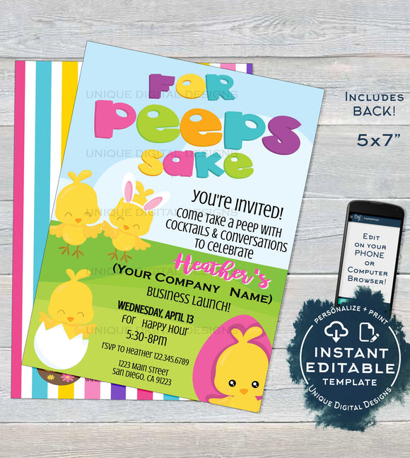 Rodan Skincare Business Launch Invitation, Editable Easter BBL Invite, For Peeps Sake Cocktails and Conversation Printable INSTANT DOWNLOAD