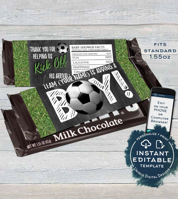 Soccer Chocolate Wrapper , Editable Soccer Theme Baby Shower Decorations, Kick off Custom Baby Boy Printable  1.55oz